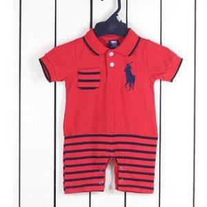 29-25-Polo Romper -line Red