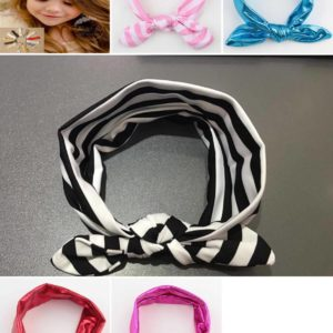 72-18-Rabbit ear headband-Pink lines