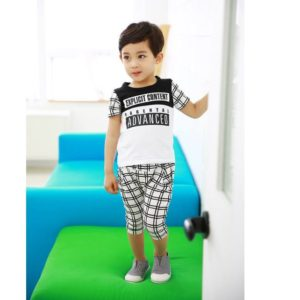 25-73-Casual stitching short sleeved suit 2pcs