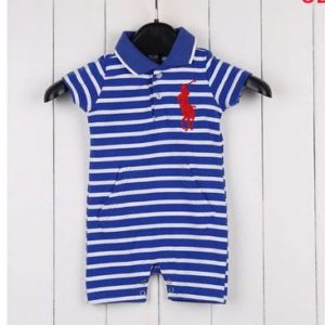 29-24-Polo romper -Line blue