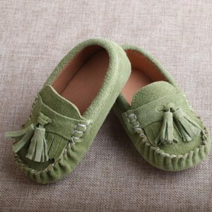 32-35-Leather Light Green Shoes