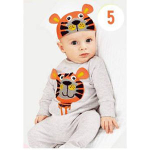 30-7-Tiger sleeved Romper with Cap