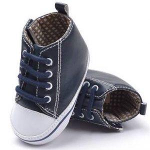 31-86-PU dark blue soft-soled shoes