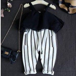 52-103-Flounced chiffon stitching striped jumpsuit