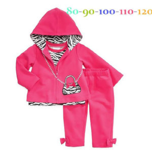 55-50-Hooded jacket zebra bow 3pcs