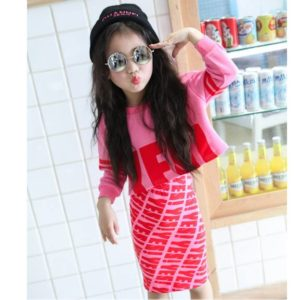 55-83-Short Paragraph Letter Sweater Skirts 2 Pcs
