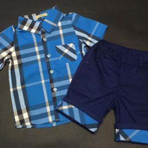 56-27-Blue plaid short-sleeved shirt 2pcs