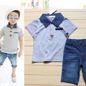 56-92-Collar Short Sleeve Jeans 2pcs