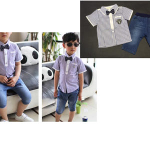 56-93-blue striped shirt and tie jeans 2pcs