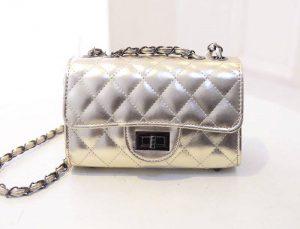 68-39-Grid chain shoulder bag - Gold