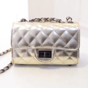 68-39-Grid chain shoulder bag - Gold