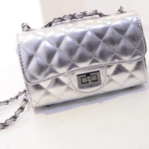 68-40-Grid chain shoulder bag - 【Argent】