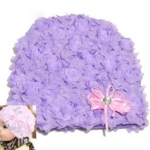 77-156-Lace flower bow head cap - Purple and pink