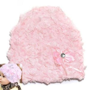 77-157-Lace flower bow head cap -pink