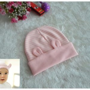77-202-Cartoon sleeve striped cap pink