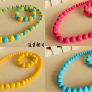 77-70-Bracelet Necklace Set-Pink