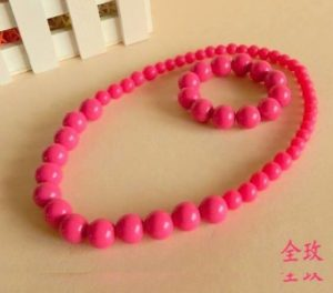 77-70-Bracelet Necklace Set-Pink