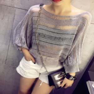88-168-Short paragraph bat sleeve T-shirt