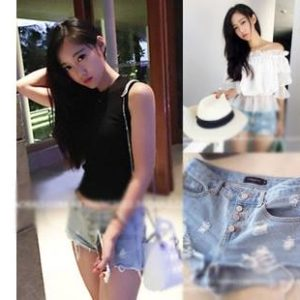 88-173-Hole denim shorts