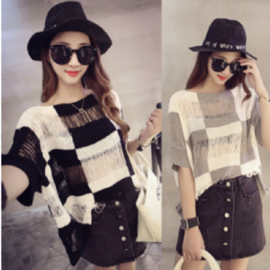 88-183-Plaid knit tops