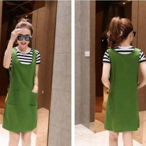 89-189-Striped knit T-shirt strap dress 2pcs