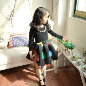 52-74-Pompon Long Sleeve Dress With Belt