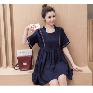 89-207-Trumpet Sleeve Ruffle Dress