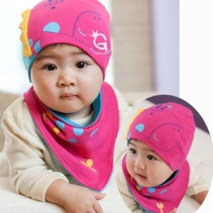 77-63-Giraffe Head Cap Triangle 2pcs - Rose