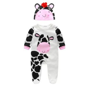 30-9-Cow sleeved Romper with Cap