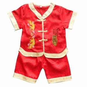 23-115-Double Dragon Tang suit 2 pcs-red