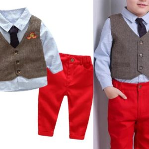 56-121-Gentleman dot vest trousers shirt 4pcs