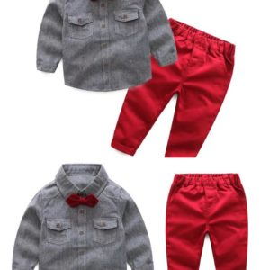 56-149-Gentleman striped shirt pants 3pcs