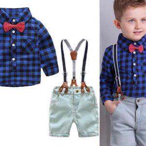 56-152-Blue plaid shirt Strap jeans 4pcs