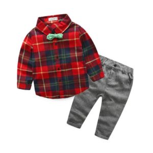 56-147-Bow Tie Plaid shirt trousers 3pcs