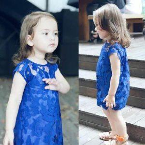 52-84-Lace Short Sleeved Dress 2Pcs