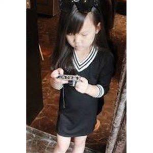 52-80-Striped long-sleeved dress
