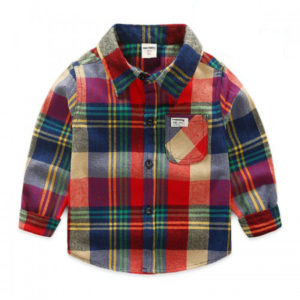 60-12-Casual Color plaid shirt
