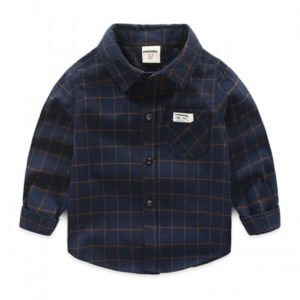 60-13-Korean casual dark blue plaid shirt