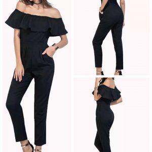 88-307-Collar Black jumpsuit