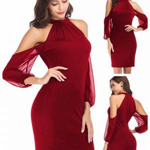 88-299-Strapless Chiffon sleeve dress