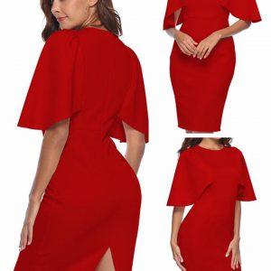 88-300-Round Neck Ruffle Sleeve Dress