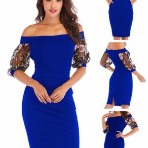 88-301-Embroidered sleeve Sexy dress