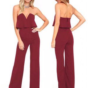 88-302-Dark Red Sexy Jumpsuit