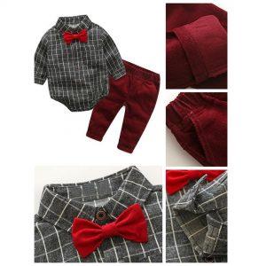 23-187-Bow tie gentleman romper Pants 3pcs