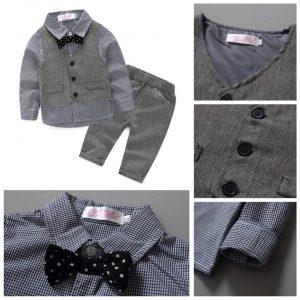 23-201-Gentleman bow tie sleeved waistcoat 4pcs