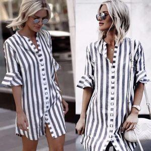 88-315-collar striped shirt dress