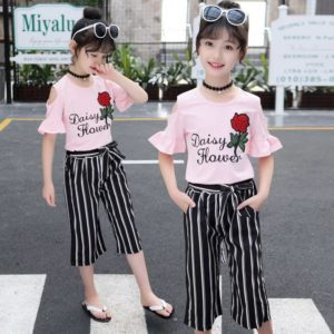 54-15-Embroidered Top Striped pants 2pcs