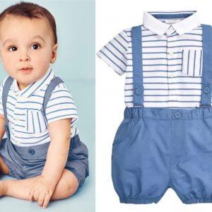 23-198-Striped Shirt Strap Pants 2pcs