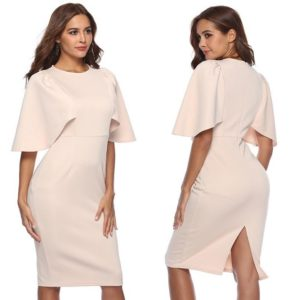 88-300-Round Neck Ruffle Sleeve Dress