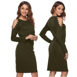 88-337-Green long sleeve dress